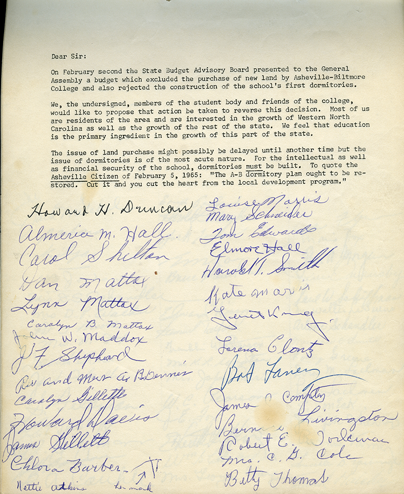 Dormitory petition, 1965