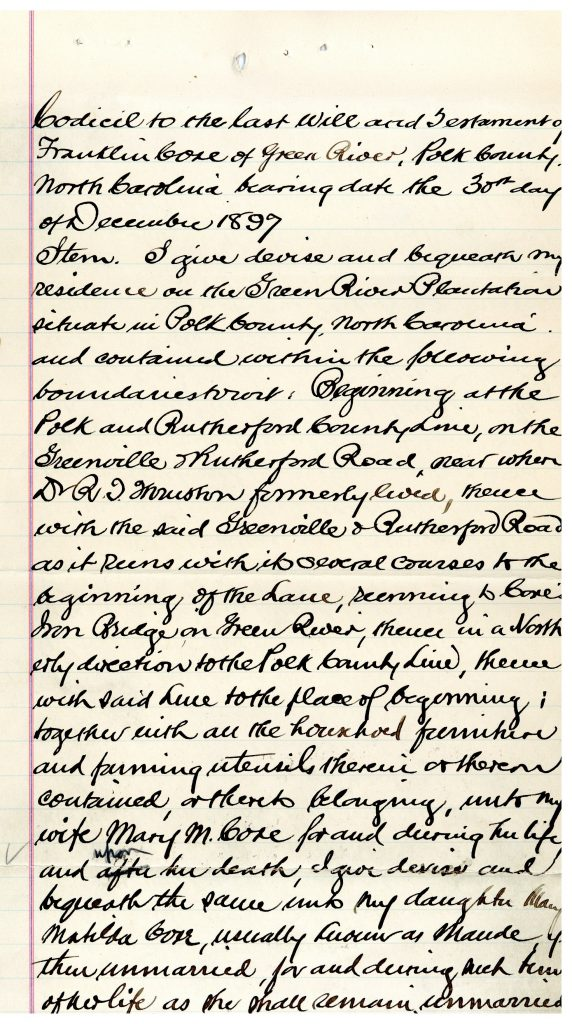 The first page of Frank Coxe's handwritten will