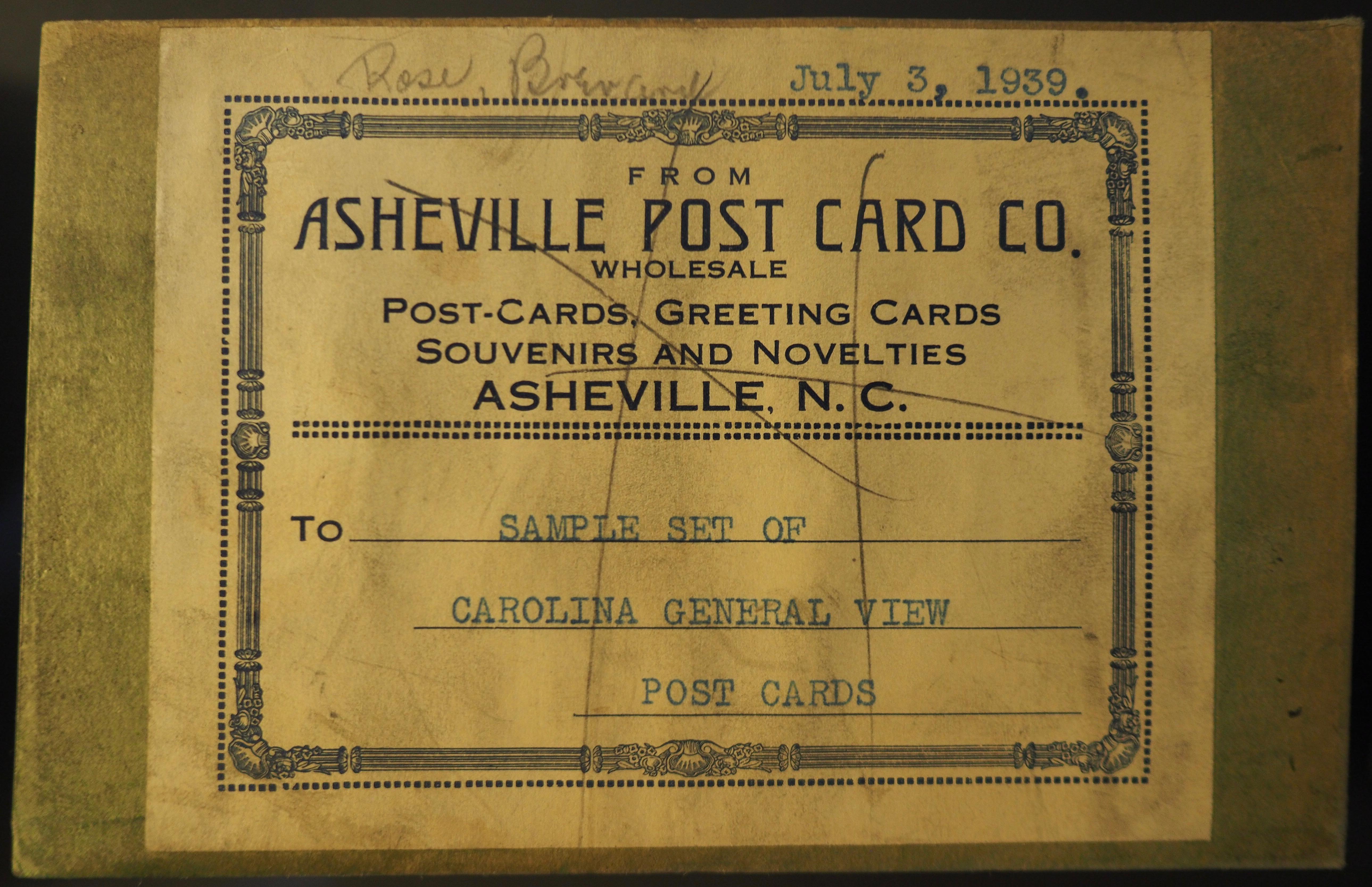 Asheville Postcard Company Salesmans Samples Collection Unc