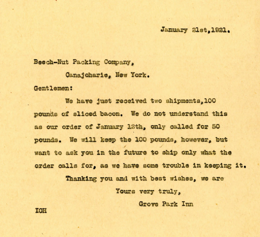 Letter from GPI to Beech-Nut Packing, January 21, 1921