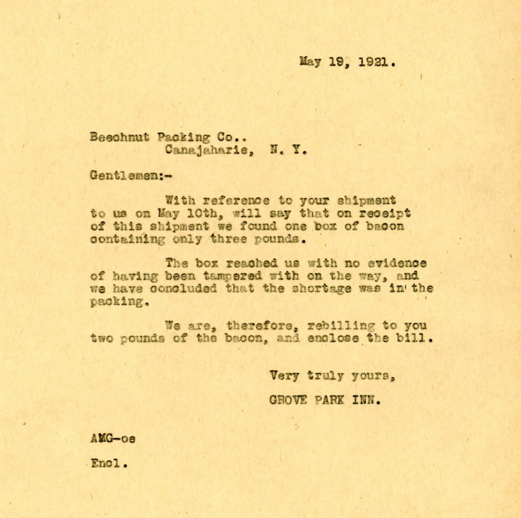 Letter from GPI to Beech-Nut Packing, May 19, 1921
