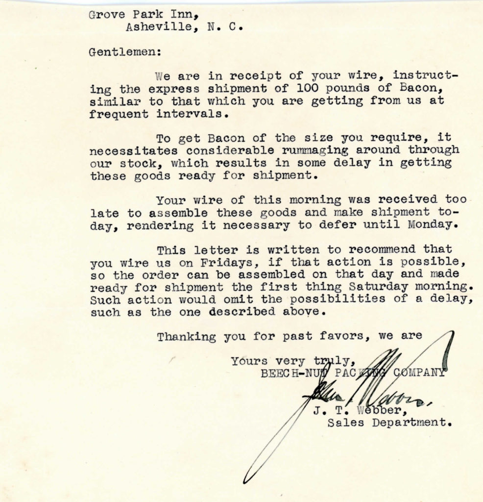 Letter from Beech-Nut Packing to GPI, undated
