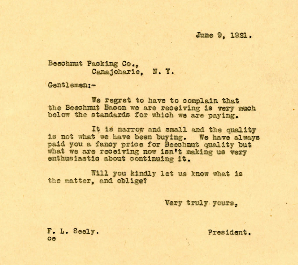 Letter from GPI to Beech-Nut Packing, June 9, 1921